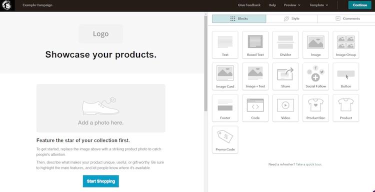 MailChimp campaign creator interface