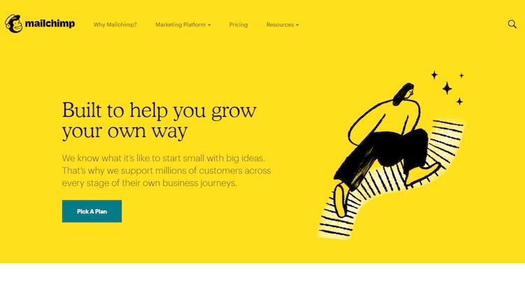 MailChimp email marketing homepage