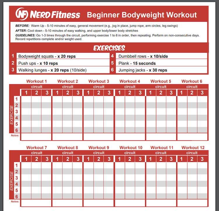 Nerd Fitness virtual workout training sheet