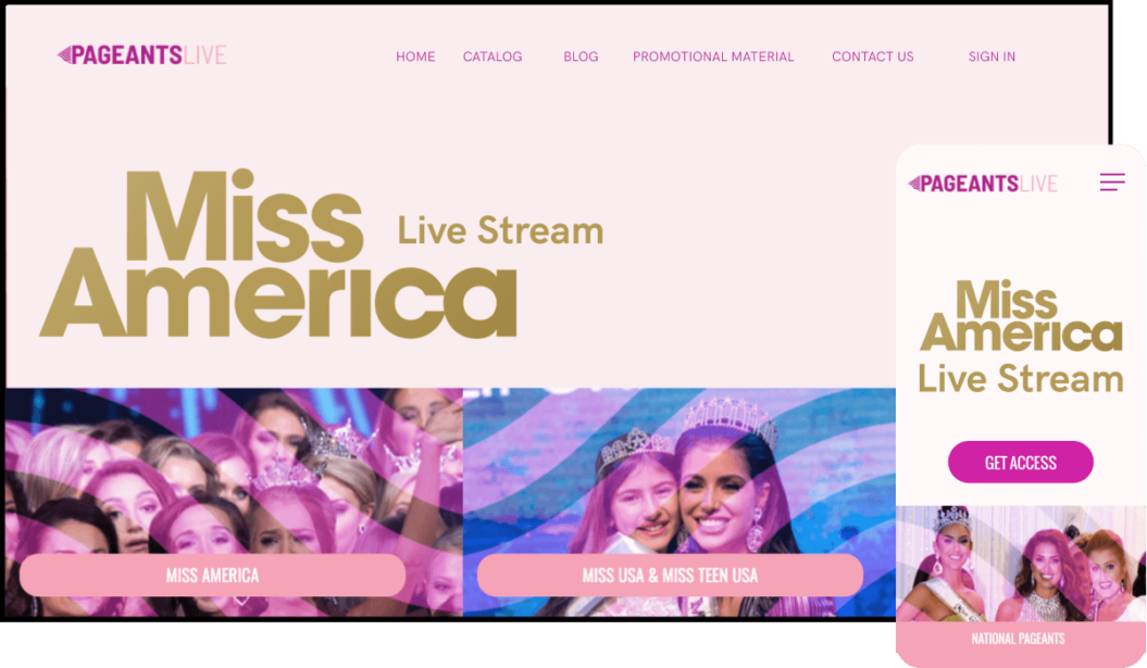 Pageants Live VOD service