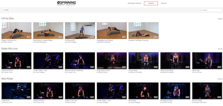 Spinning fitness content library