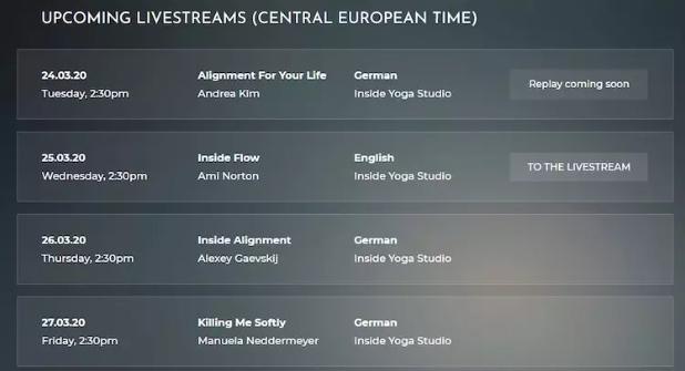 Tint Yoga live stream calendar