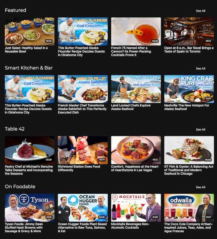 Foodable TV video catalog thumbnails