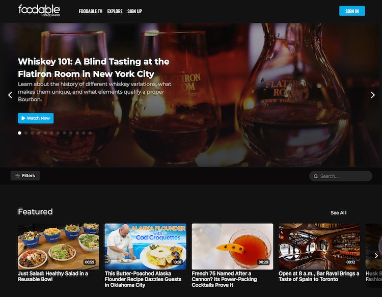 Foodable VOD catalog featured category