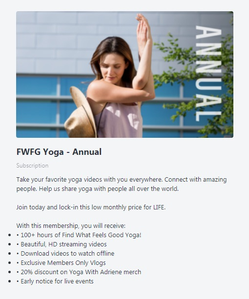 Find What Feels Good Yoga annual membership plan description