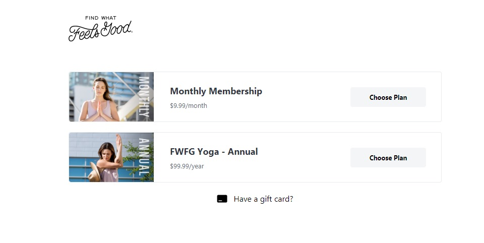 Find What Feels Good yoga plan selection page