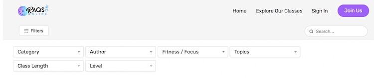 Raqs Online VOD content custom filters