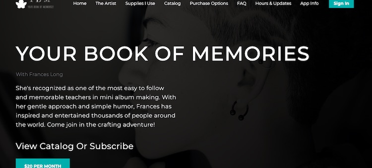 Your Book of Memories homepage
