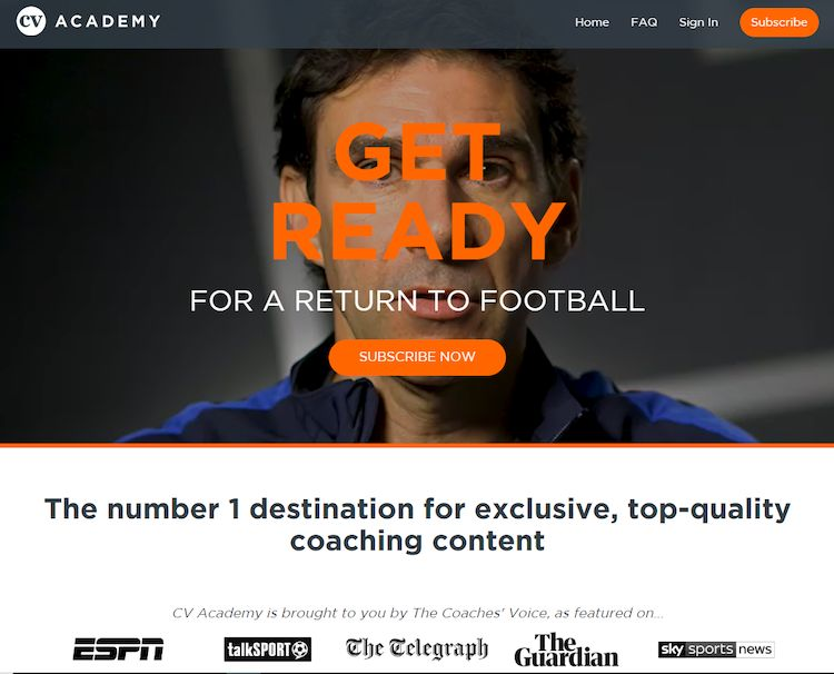 Coaches Voice Academy homepage