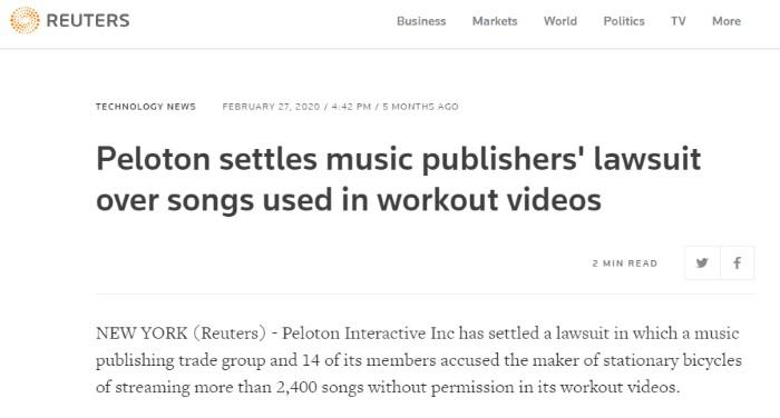 Peleton music settlement