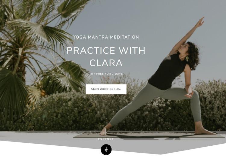 Practice with Clara Yoga SVOD homepage
