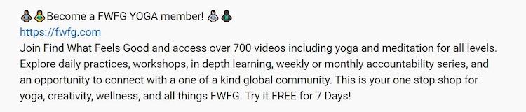 Yoga with Adriene YouTube video caption FWFG
