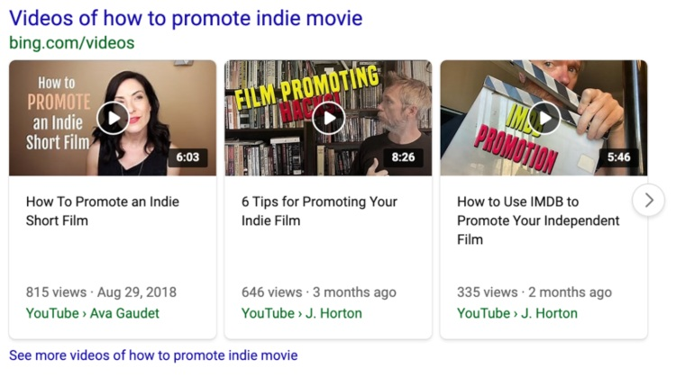 bing search snippet promote indie movie