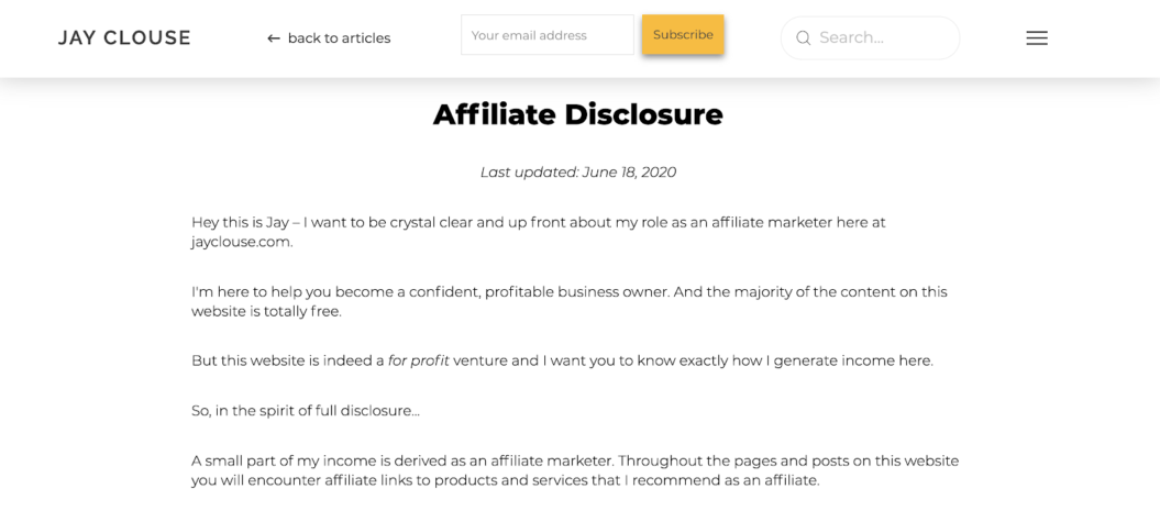 Jay Clouse's disclaimer for affliates