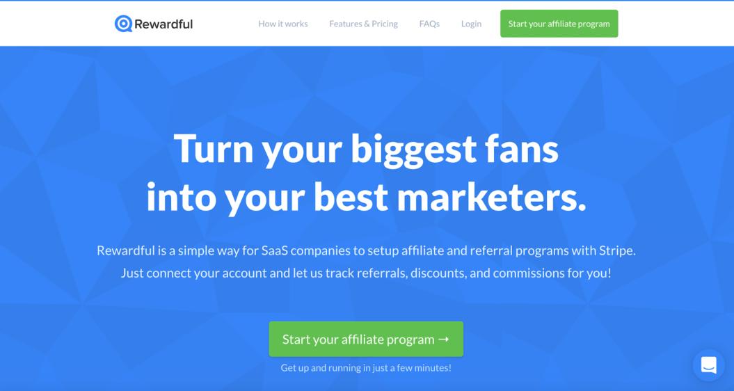 Rewardful homepage - Affiliate Tool