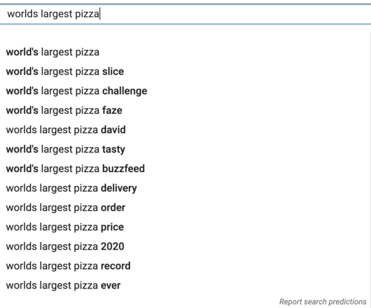 world's largest pizza search suggestions