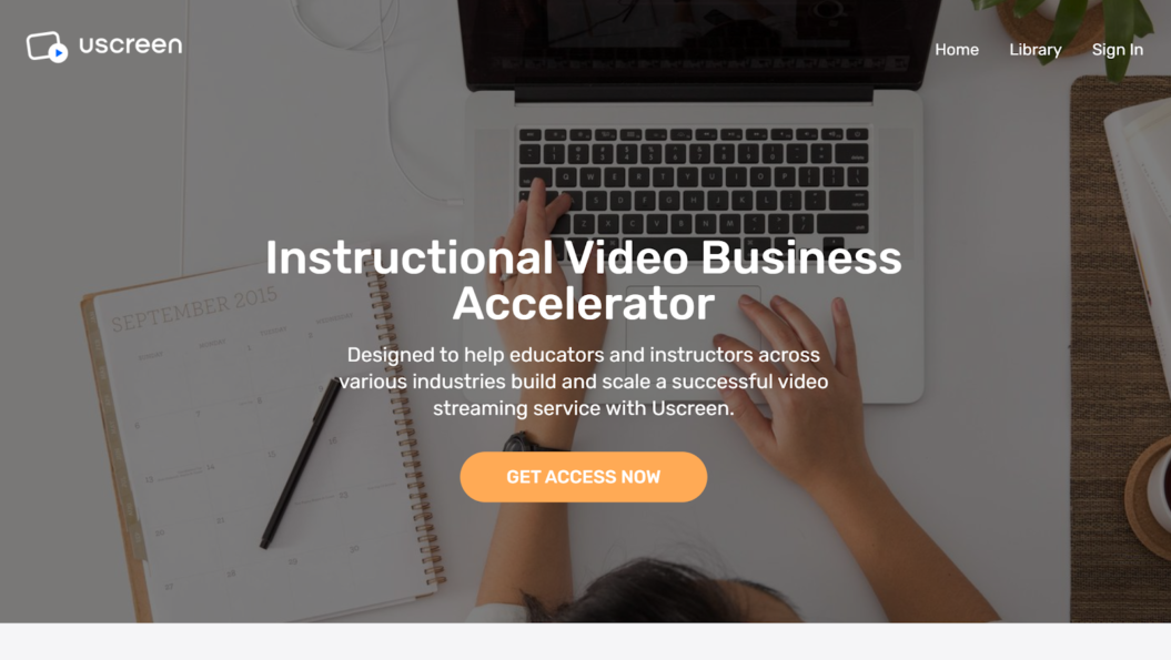 Uscreen's elearning video business accelerator landing page