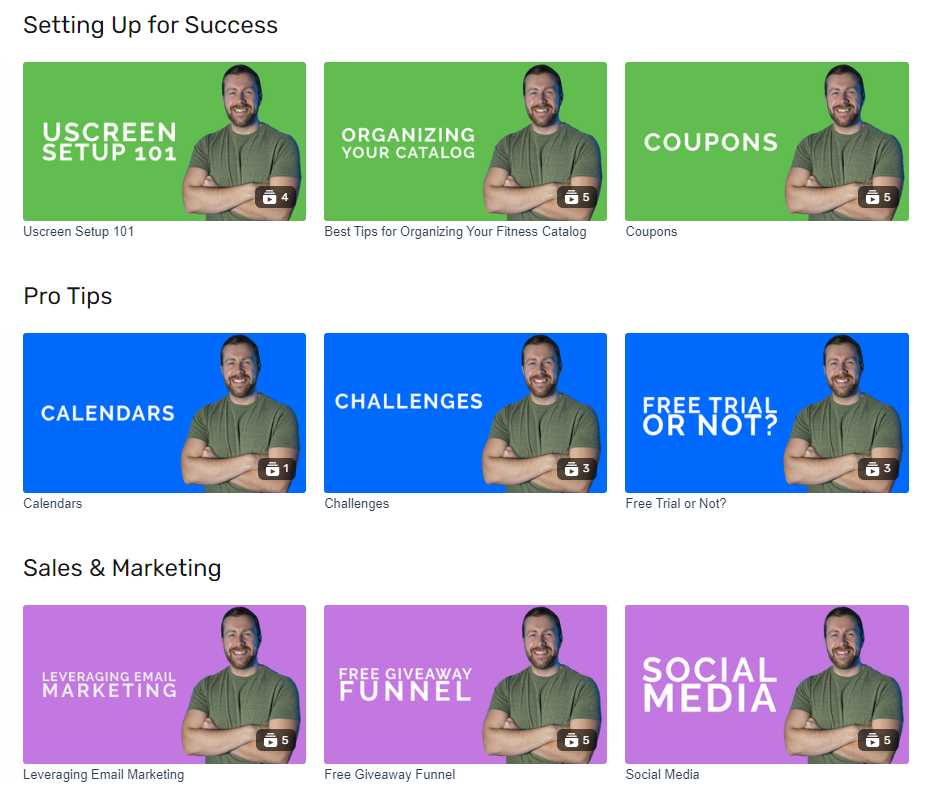 Fitness Accelerator's core content Uscreen's elearning example