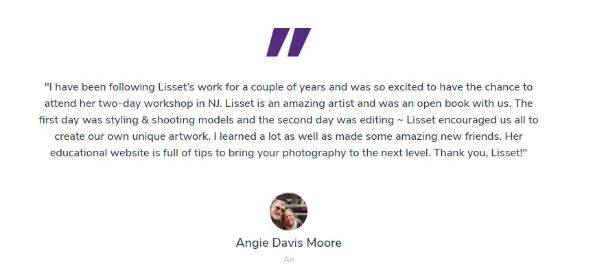 Lisset Perrier Artistry's homepage customer testimonial