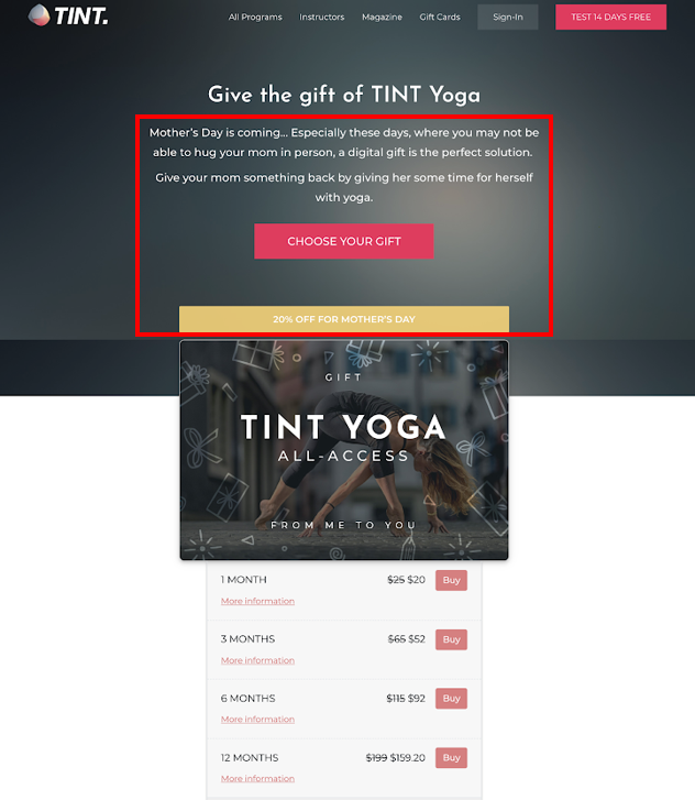 Gift card landing page promotion mother's day tint yoga