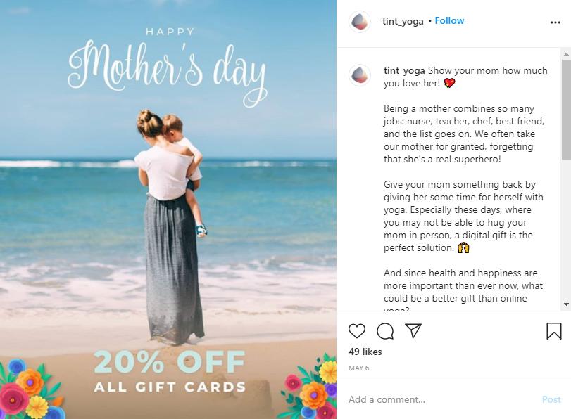 Gift card mother's day isntagram post promotion tint yoga