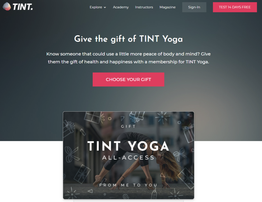 generic gift card landing page tint yoga example