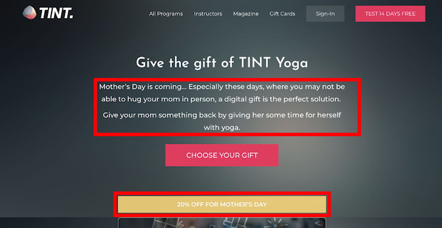Mother's Day gift card landing page tint yoga example