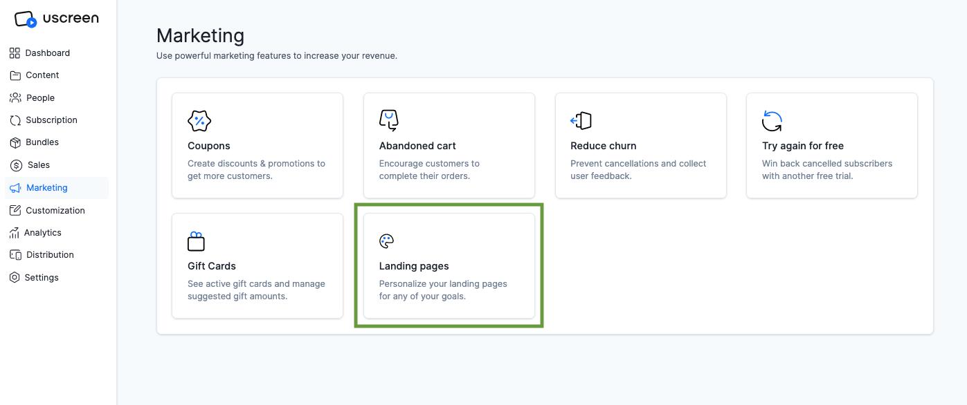 Landing page Uscreen marketing tool