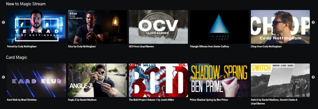Magic stream highlight content categories