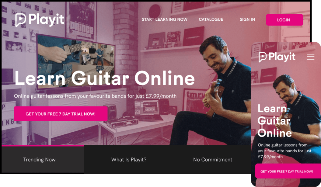 eLearning video service for learning guitar online