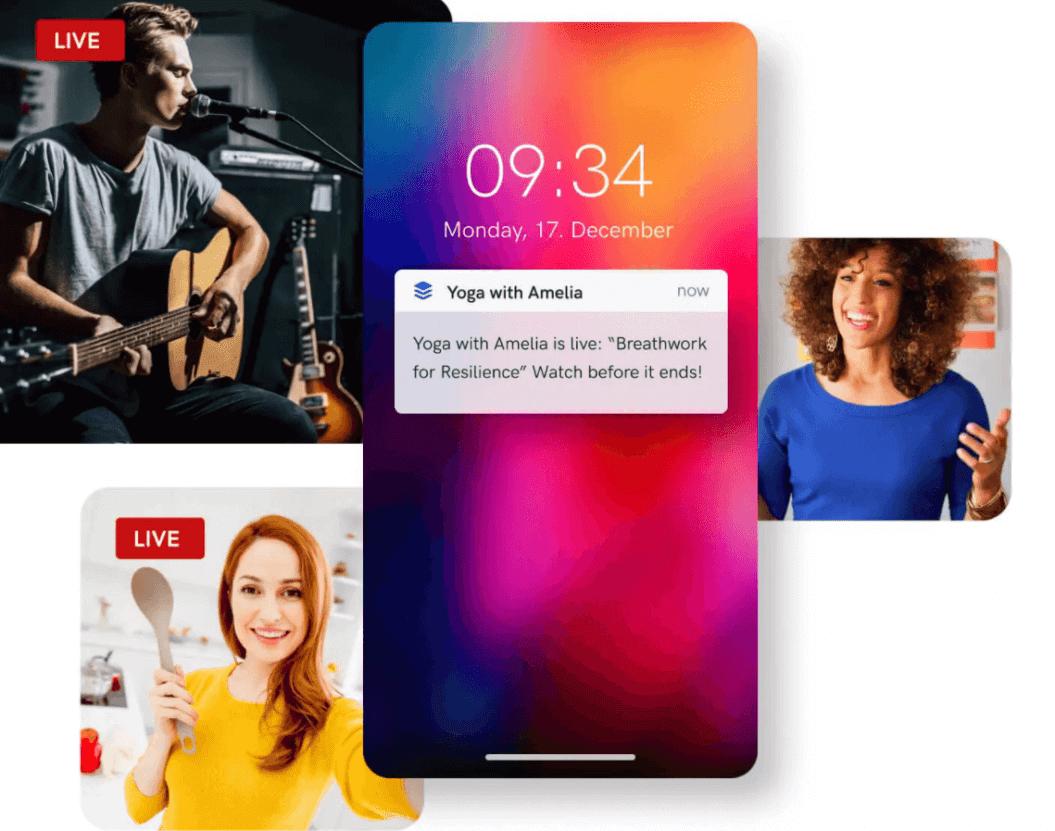 go live notifications uscreen