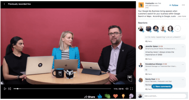 live streaming platform linkedin live