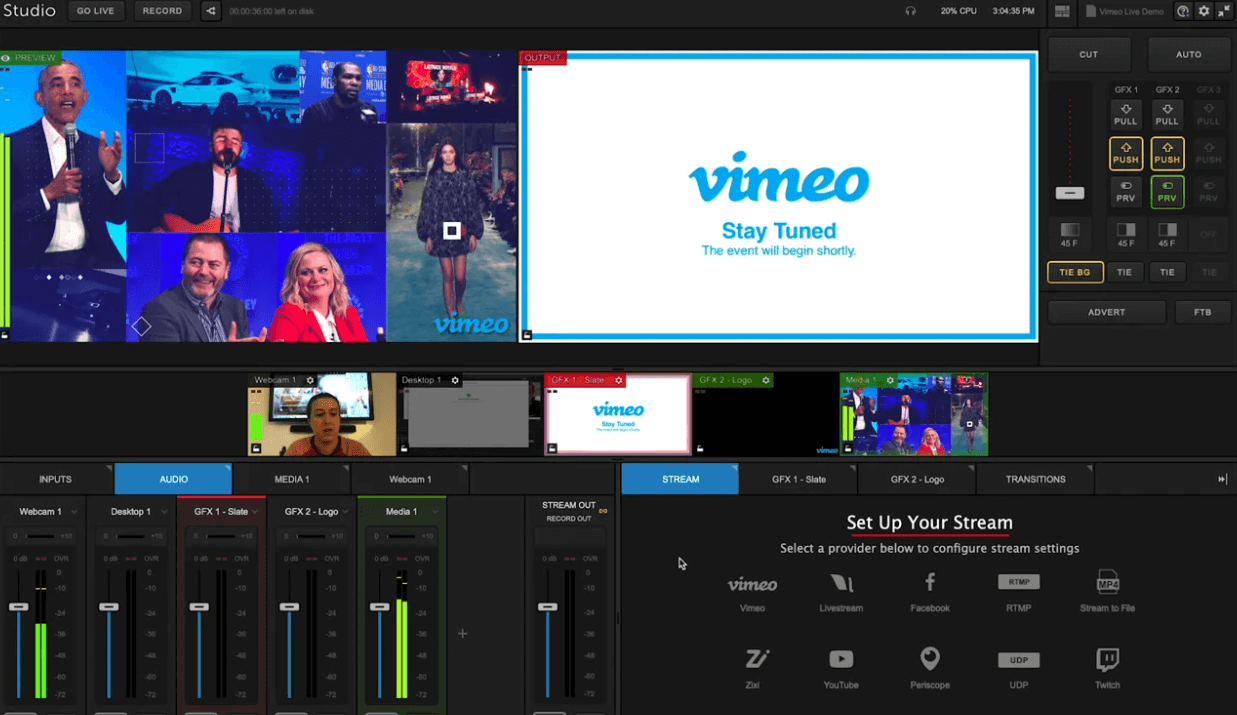 live streaming platform vimeo live