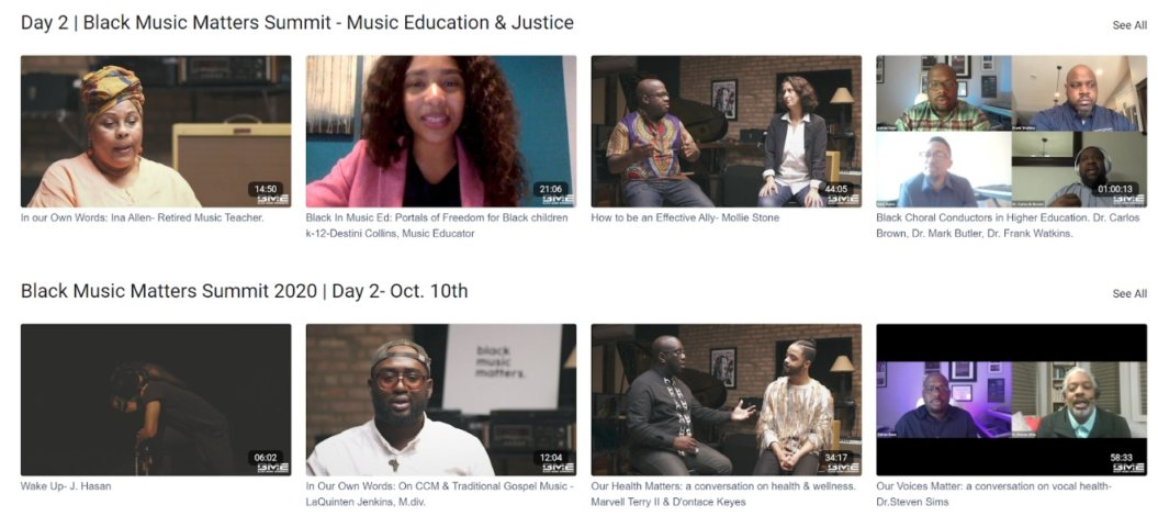 black music experience online events content catalog