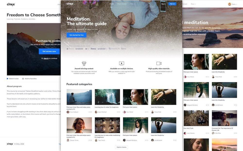 customize video website uscreen landing page builder