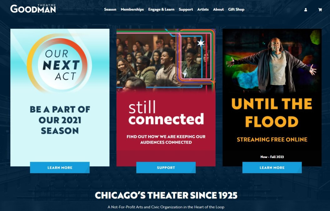 virtual event example the goodman theatre homepage