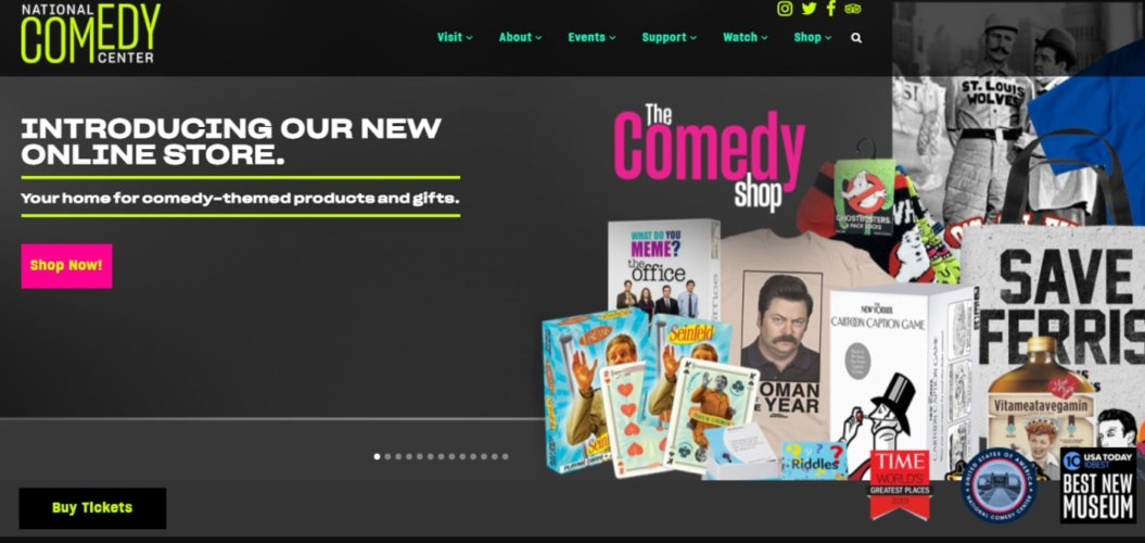 virtual events example national comedy theatre homepage