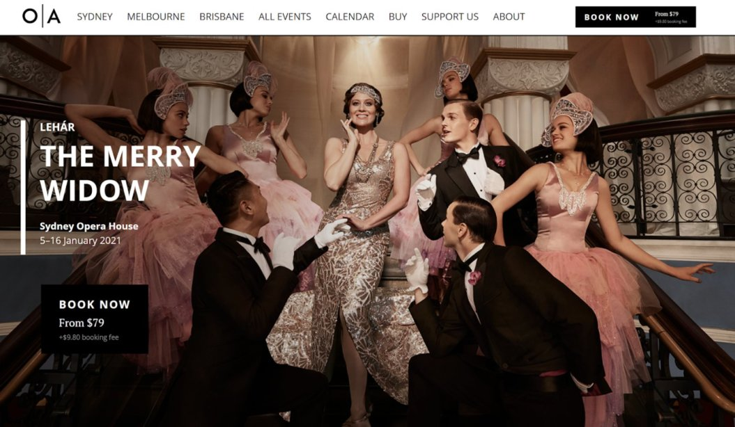 opera australia homepage virtual event example