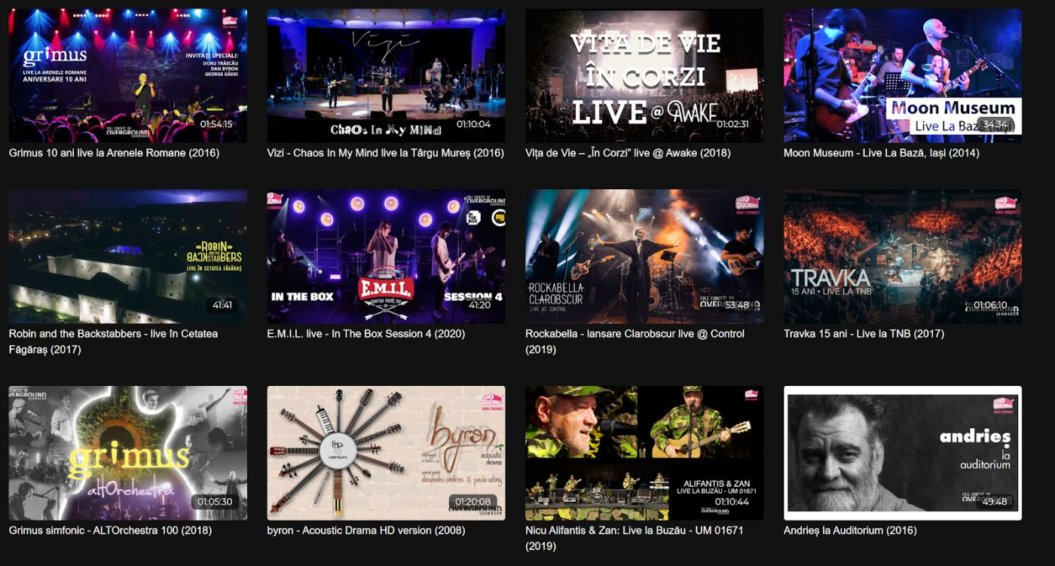 virtual concert content catalog