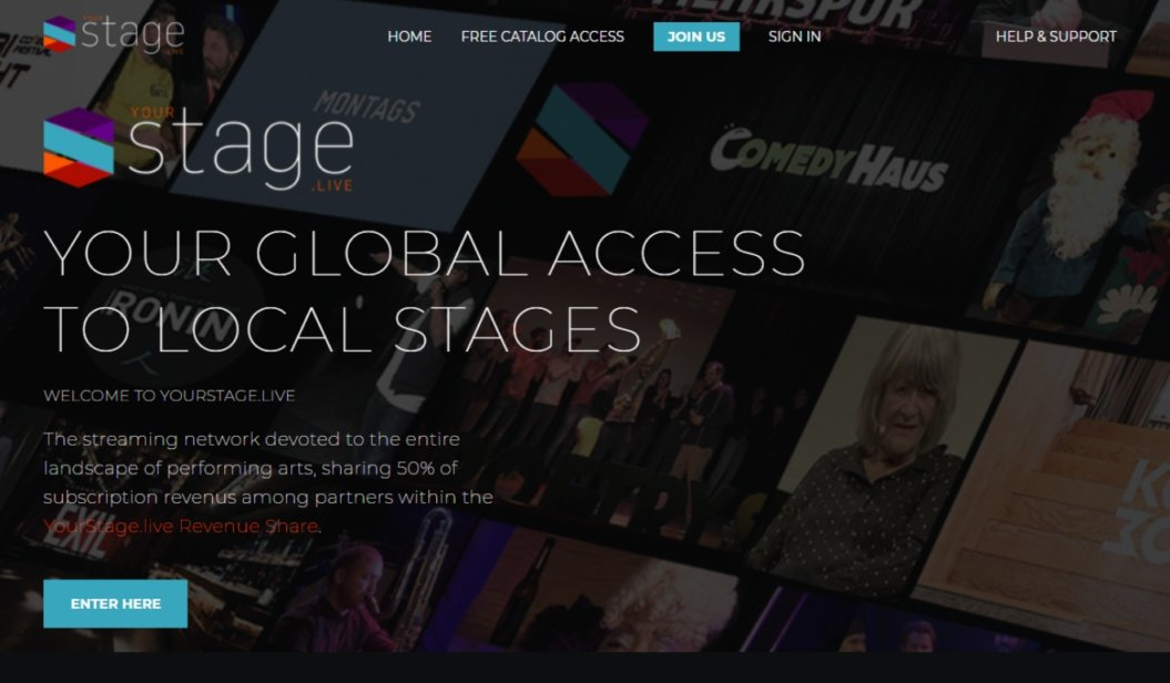 yourstage online events video on demand platform homepage