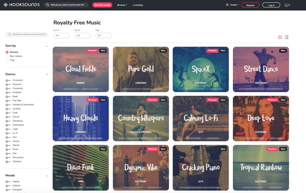 hooksounds royalty free music platform