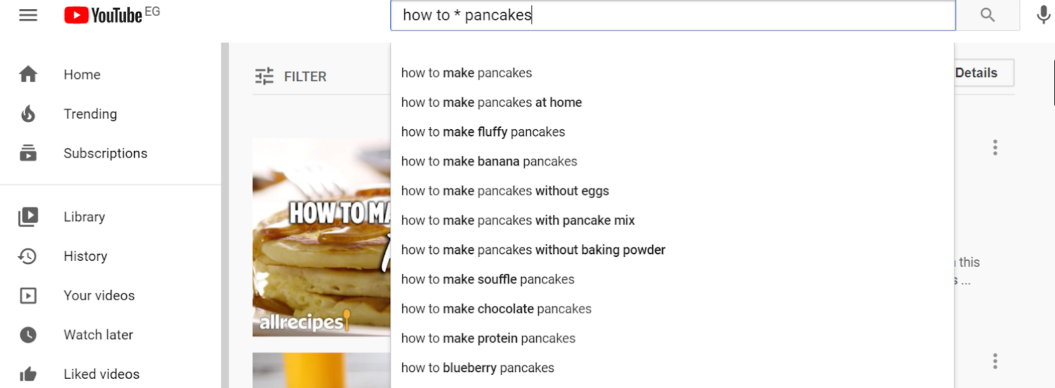 keyword research youtube pancake example