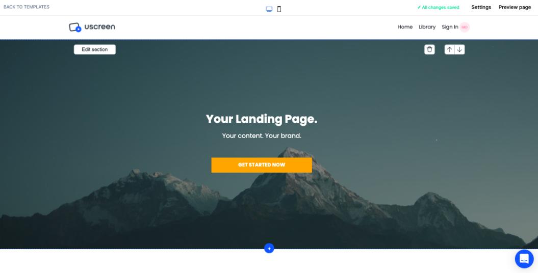 ott marketing build landing page uscreen