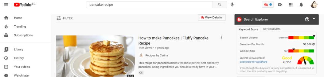 pancake recipe keyword search tubebuddy