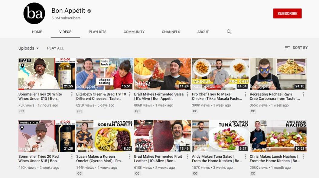 video marketing bon appetit vlog