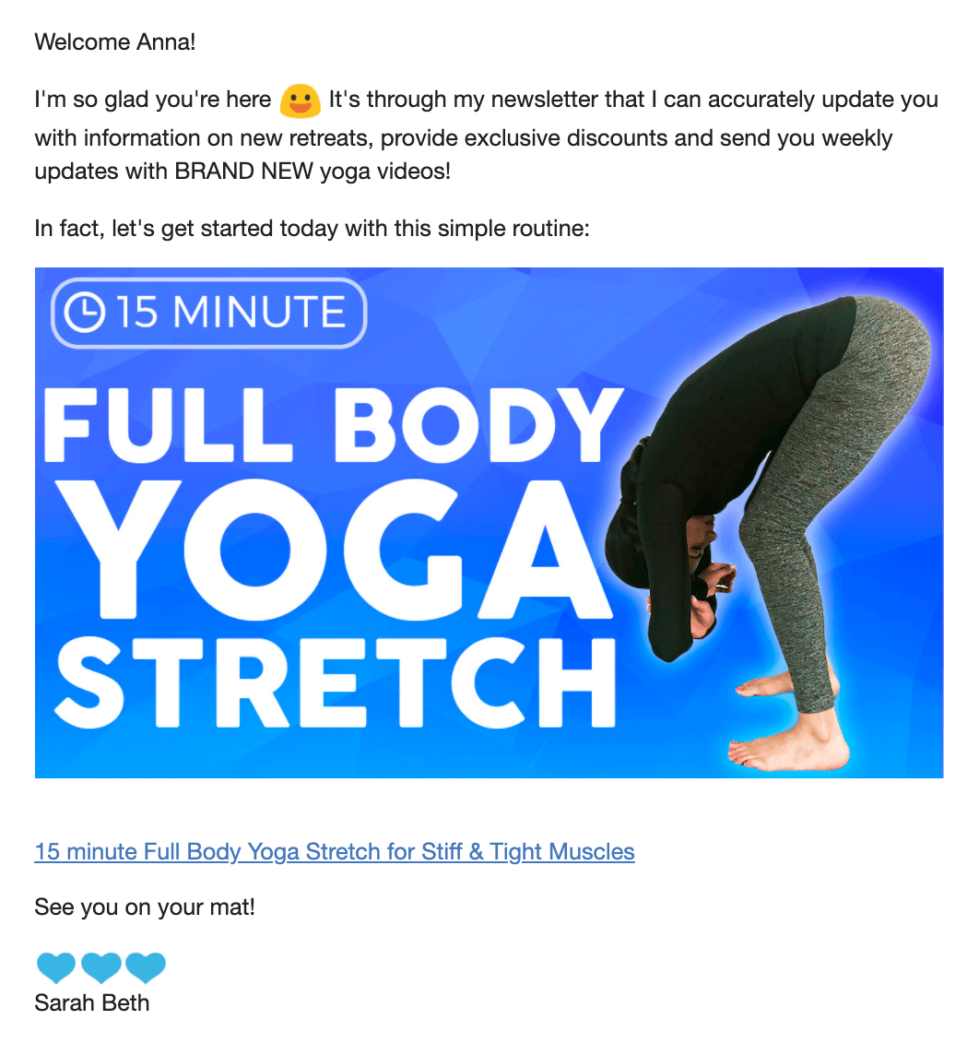 sarah beth yoga welcome email