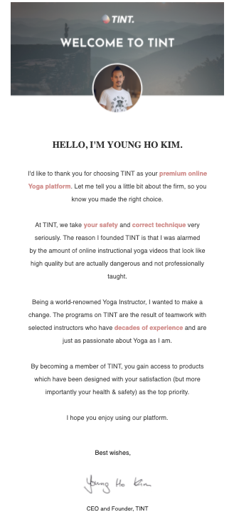 tint welcome email company philosophy