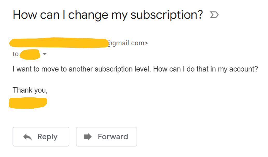customer support email faq example