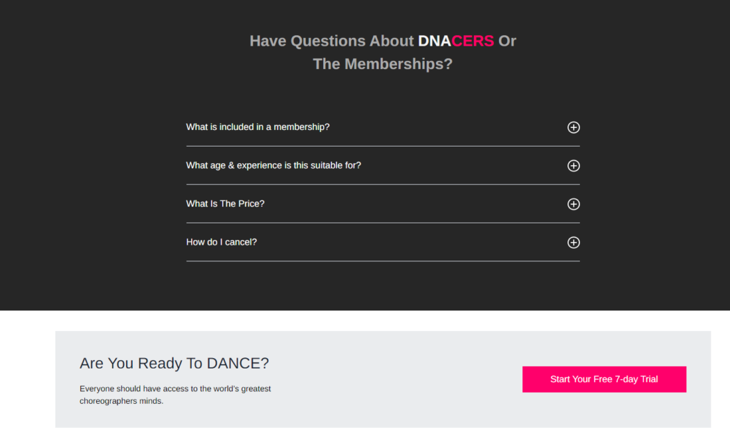 dnacer faq landing page example