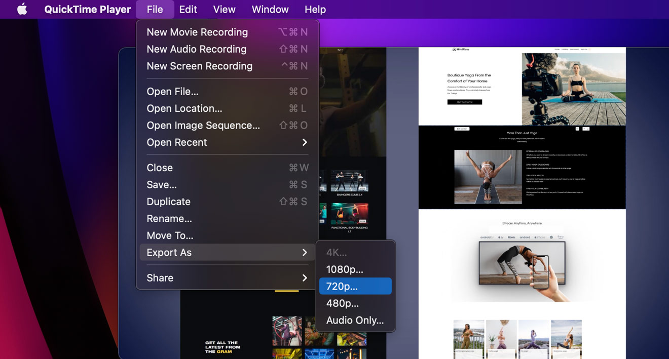 reducing video file size using the export option in QuickTime Player on Mac